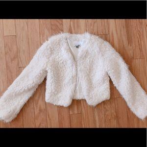 White shag fur coat
